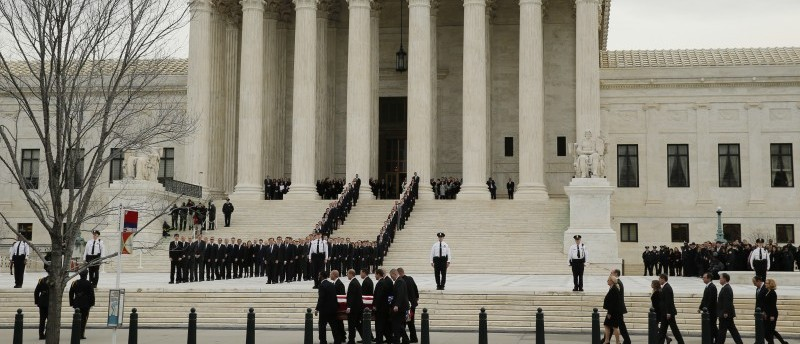 The casket of late U.S. Supreme Court Justice Scalia arrives at the U.S. Supreme Court in Washington