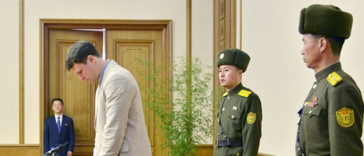 Otto Frederick Warmbier (3rd R), a University of Virginia student who has been detained in North Korea since early January, attends a news conference in Pyongyang, North Korea, in this photo released by Kyodo February 29, 2016. REUTERS/Kyodo