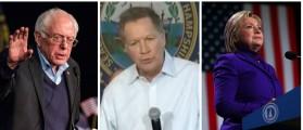 Bernie Sanders, John Kasich, Hillary Clinton [images via Getty, Screen shot YouTube, Getty]