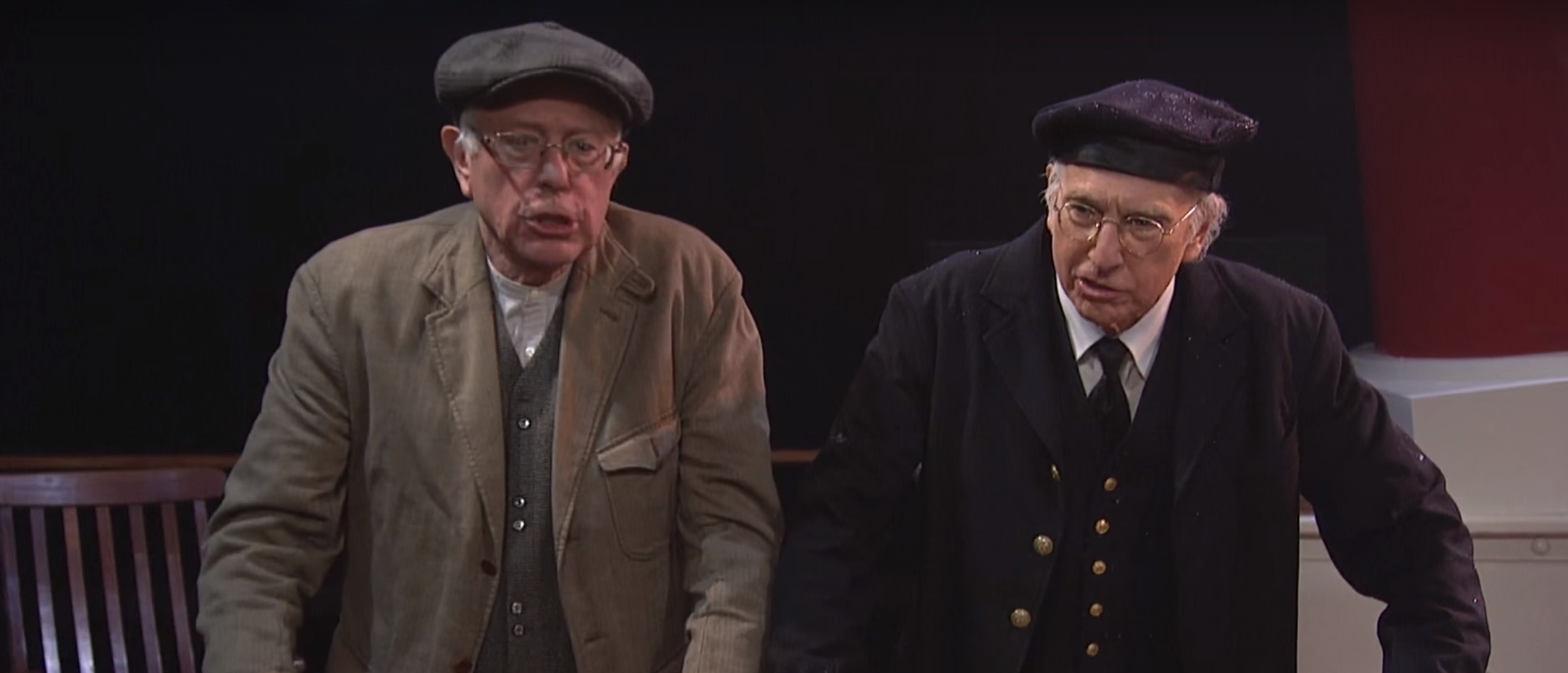 Bernie Sanders, Larry David [Screen shot Saturday Night Live Youtube]
