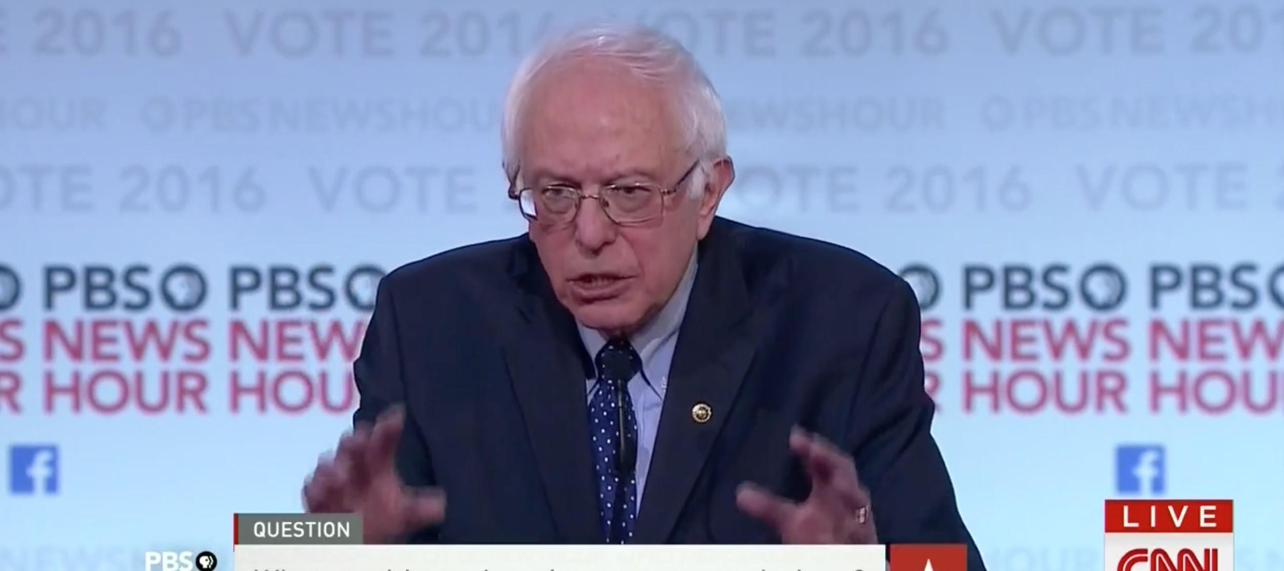 Bernie Sanders, Screen shot CNN Dem Debate