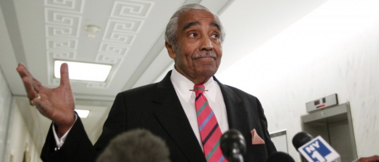 Rep. Charlie Rangel (D-NY) gestures as he speaks to the members of the media in front of his House office on Capitol Hill in Washington, Nov. 16, 2010