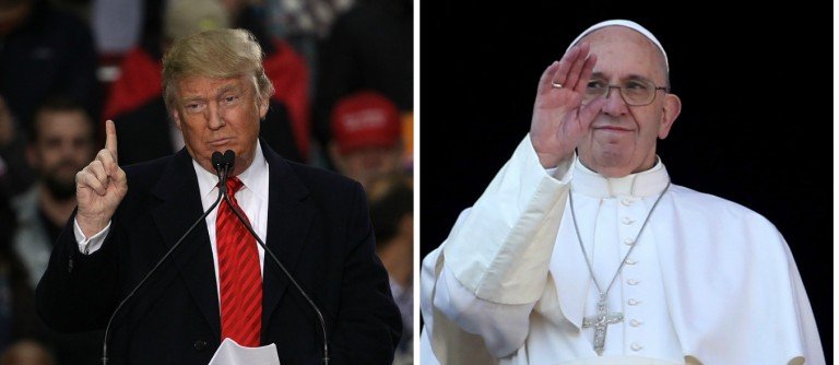 Donald Trump, Pope Francis [images via Getty]