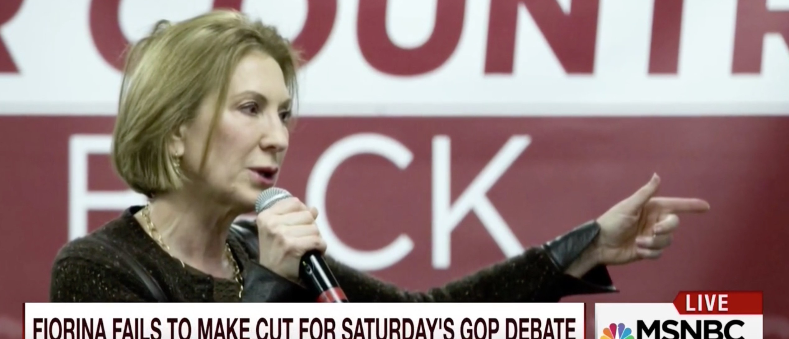 Fiorina On Not Making ABC Debate: 'The Game Is Rigged' [screen shot MSNBC]