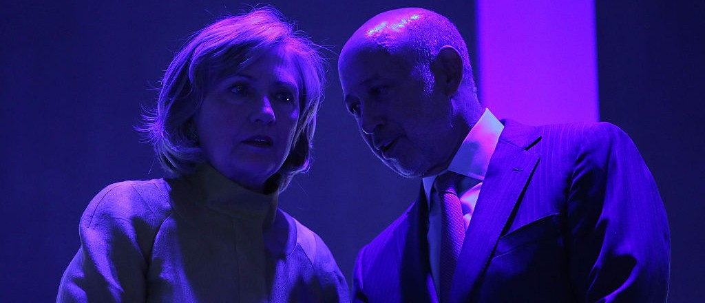 NEW YORK, NY - SEPTEMBER 24: Former U.S. Secretary of State Hillary Clinton and CEO of Goldman Sachs Lloyd Blankfein onstage during the fourth day of the Clinton Global Initiative's 10th Annual Meeting at the Sheraton New York Hotel & Towers on September 24, 2014 in New York City. (Photo by Jemal Countess/Getty Images)