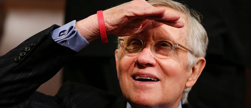 Senate Minority Leader Harry Reid of Nevada looks up into the balcony prior to President Barack Obama's State of the Union address before a Joint Session of Congress on Capitol Hill in Washington, D.C., Jan. 12, 2016. (EVAN VUCCI/AFP/Getty Images)