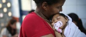 Grandmother Ivalda Caetano holds Ludmilla Hadassa Dias de Vasconcelos (2 months), who has microcephaly, at Oswald Cruz hospital on January 26, 2016 in Recife, Brazil. (Mario Tama/Getty Images)