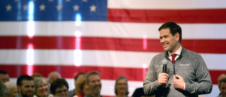 Republican presidential candidate Sen. Marco Rubio (R-FL) speaks to guests and supporters during a campaign stop at Bev's On The River Restaurant on January 30, 2016 in Sioux City, Iowa. (Christopher Furlong/Getty Images)