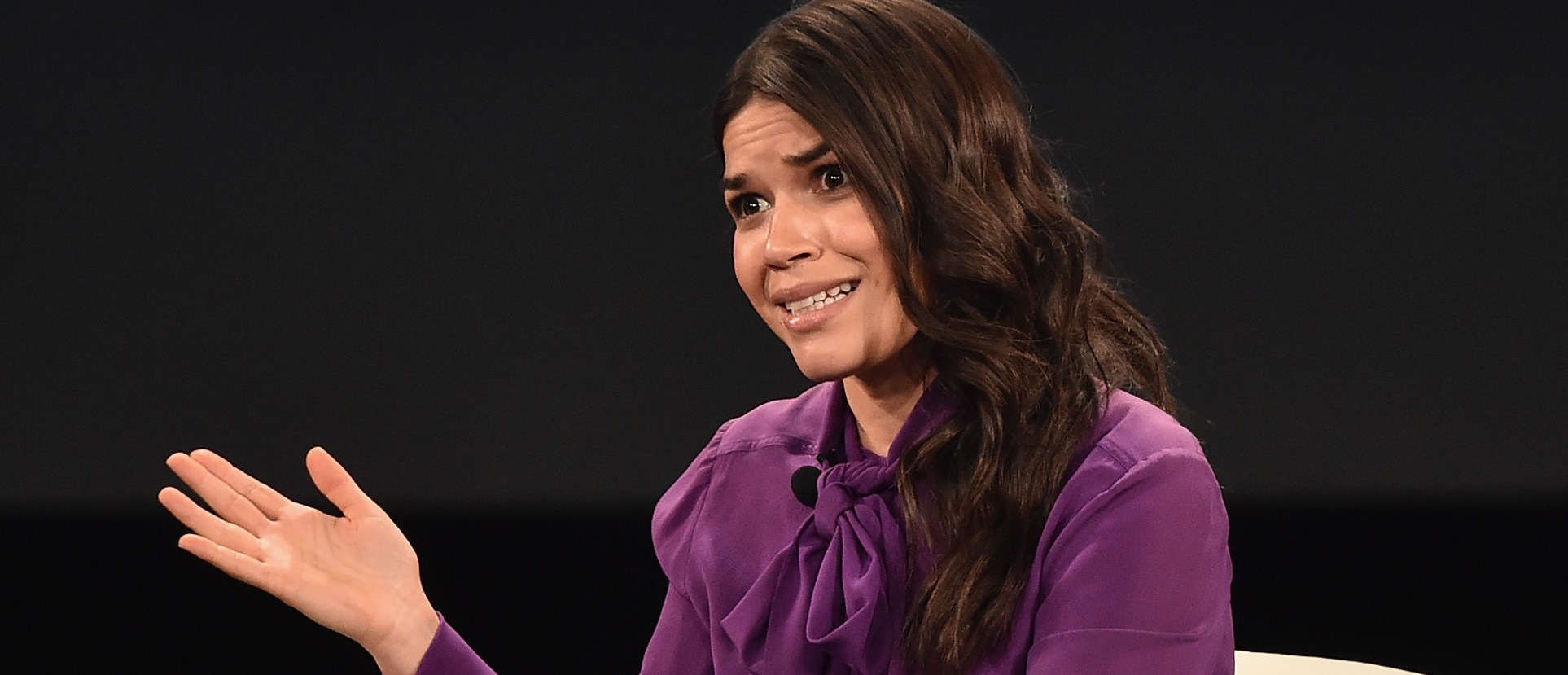 RANCHO PALOS VERDES, CA - FEBRUARY 01: Actress America Ferrera speaks at the 2016 AOL MAKERS Conference at Terranea Resort on February 1, 2016 in Rancho Palos Verdes, California. (Photo by Alberto E. Rodriguez/Getty Images)
