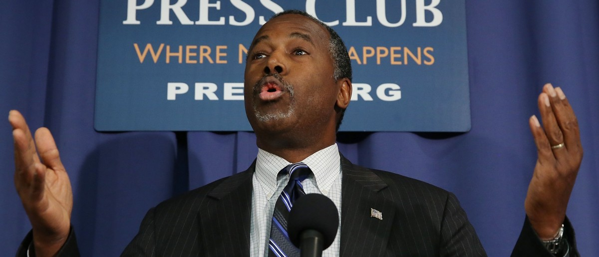 Republican Presidential candidate Dr. Ben Carson speaks to the media at the National Press Club Feb. 3, 2016 in Washington, D.C.