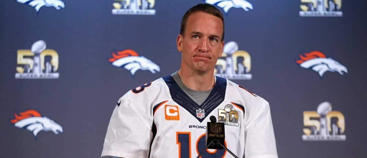 Peyton Manning of the Denver Broncos speaks to the media during the Broncos media availability for Super Bowl 50