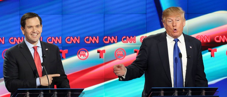 Marco Rubio, left, listens as Donald Trump answers a question during the Republican Presidential Primary Debate at the University of Houston Thursday, Feb. 25, 2016. ( Gary Coronado / Houston Chronicle )