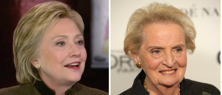 Hillary Clinton and Madeleine Albright [images via NBC and Getty]