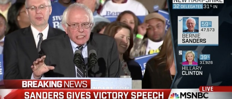 In Victory, Bernie Thanks The 'Aroused Electorate' [screen shot MSNBC]