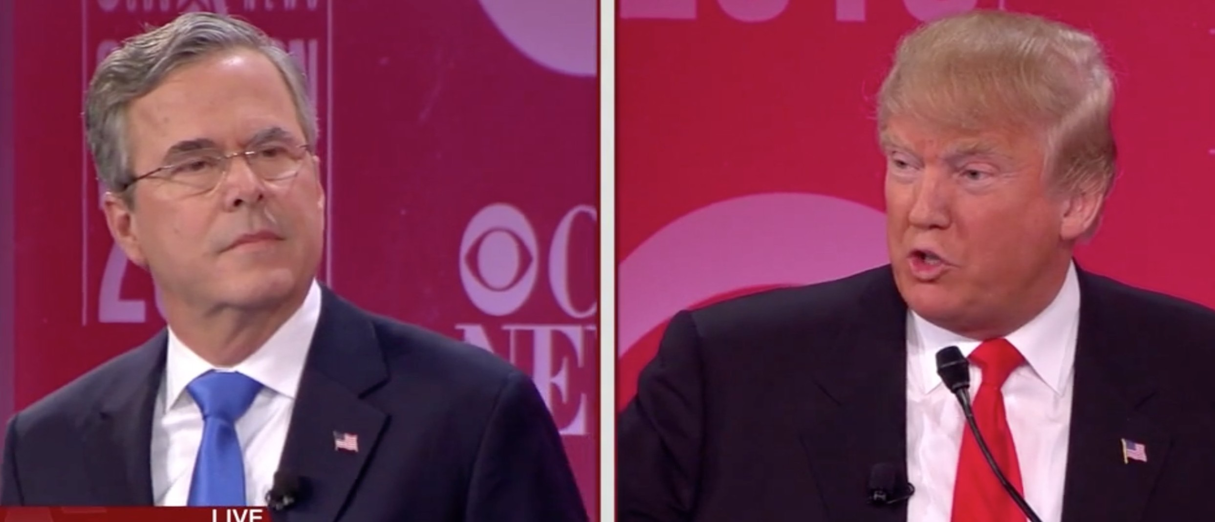 Jeb Bush, Donald Trump, CBS debate, Screen shot CBS