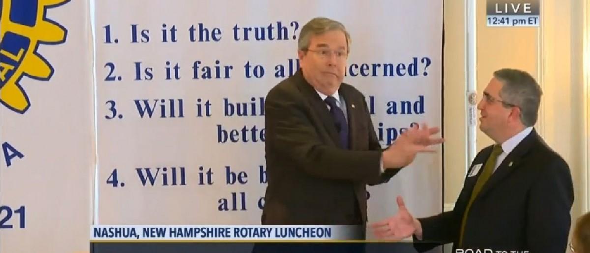 Screenshot, CSPAN, Jeb Bush at New Hampshire Rotary Club