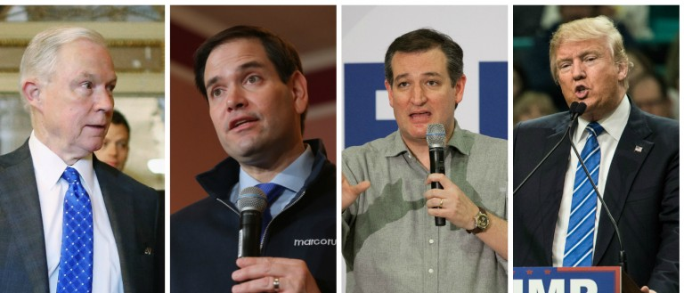 Jeff Sessions, Marco Rubio, Ted Cruz, Donald Trump [Images via Getty]