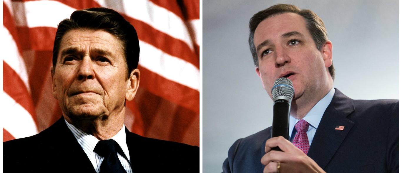 Ronald Reagan, Ted Cruz [images via Getty]