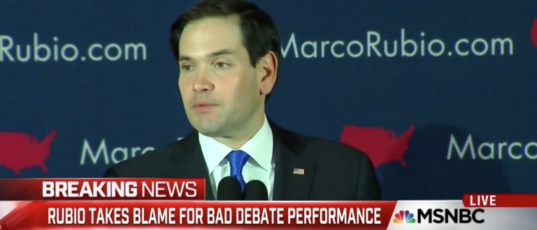 Rubio: 'I Did Not Do Well' During Saturday's Debate 'That Will Never Happen Again' [screen shot MSNBC]