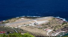 Juancho E. Yrausquin Airport, Saba Island: Not only is this elevated airport surrounded by water, it also boasts the shortest commercial airstrip on the planet. (Photo: killians_red/Flickr)