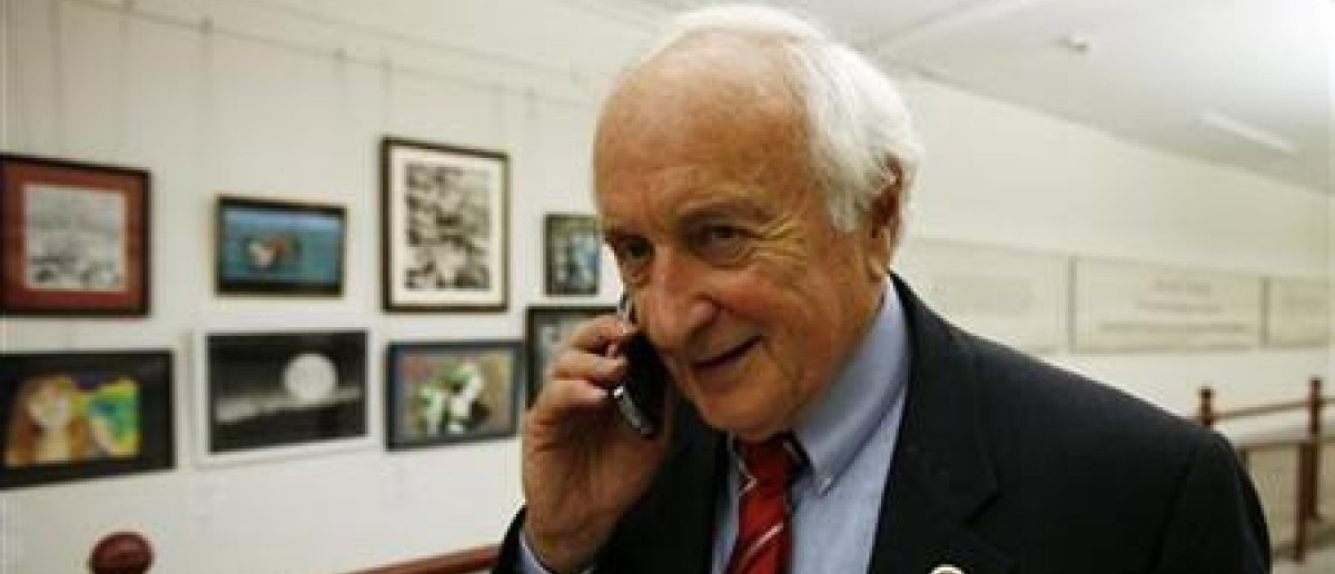 The chairman of the House Ways and Means Committee U.S. Rep. Sandy Levin (D-MI) speaks on a mobile phone in the Capitol Hill tunnel on Capitol Hill in Washington, September 29, 2010. REUTERS/Hyungwon Kang