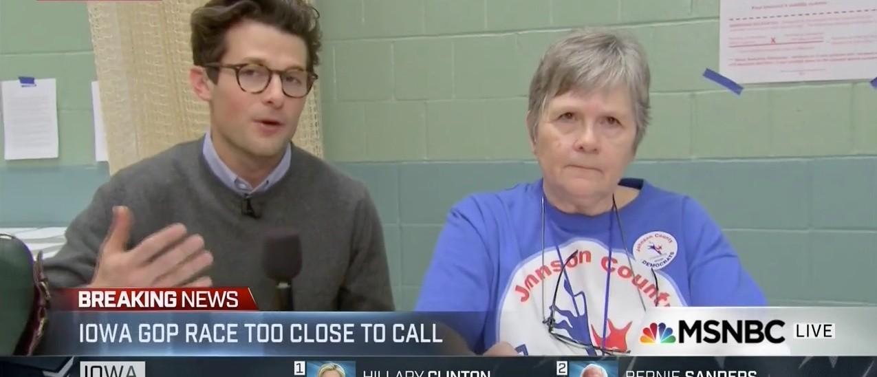 Dead Phones Keep Iowa Precincts From Reporting Democratic Caucus Results (screenshot: MSNBC)