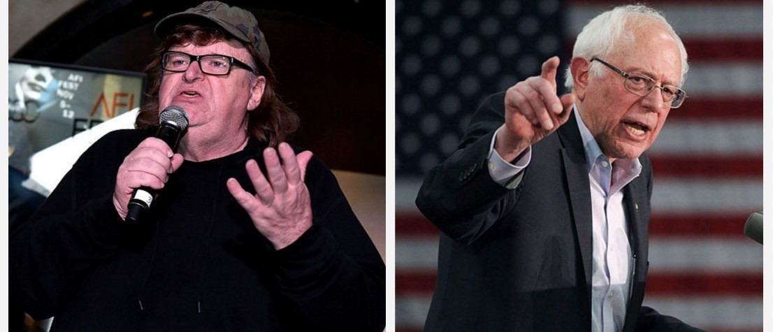 Angry, White Liberal (Moore) Endorses Ancient, White Socialist (Sanders) (Getty Images)