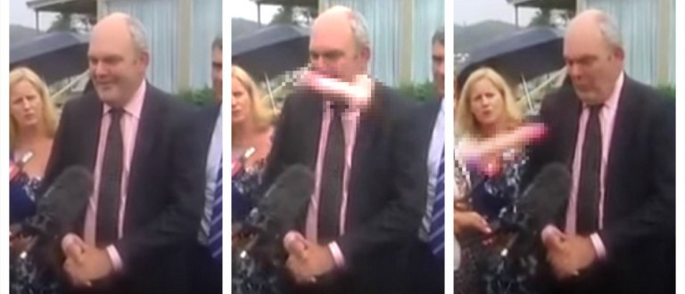 Protester Hurls Insults, Giant Pink Dildo At Politician (YouTube)