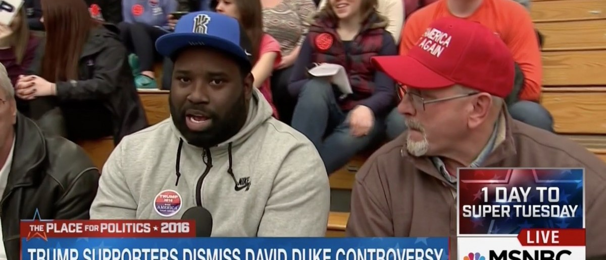 "A black Donald Trump supporter at a rally [MSNBC ""The Place For Politics 2016"" screengrab]"