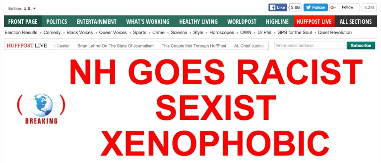 Screen shot Huffington Post, NH Goes Racist, Sexist, Xenophobic