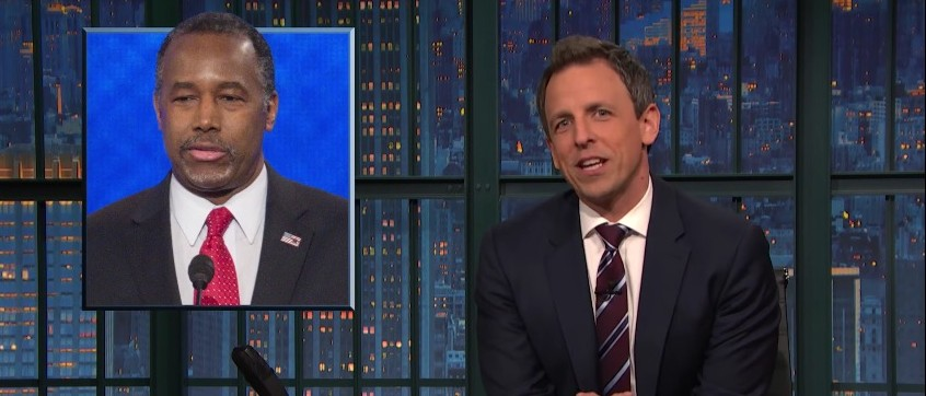 Seth Meyers, Ben Carson [screen shot YouTube]
