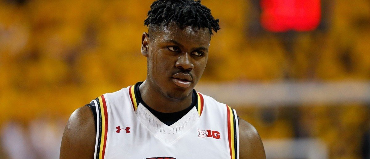 Diamond Stone of the Maryland Terrapins looks on against the Wisconsin Badgers in the first half at Xfinity Center on Feb. 13, 2016 in College Park, Maryland. (Photo by Rob Carr/Getty Images)