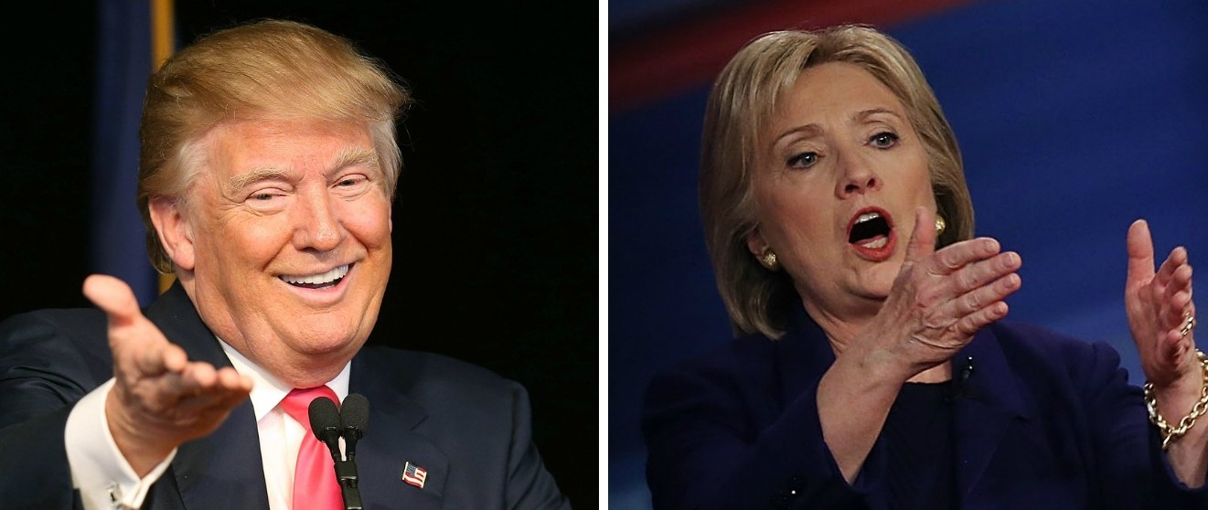 Trump 'It's Painful' To Hear Hillary 'Shouting' [images via Getty]