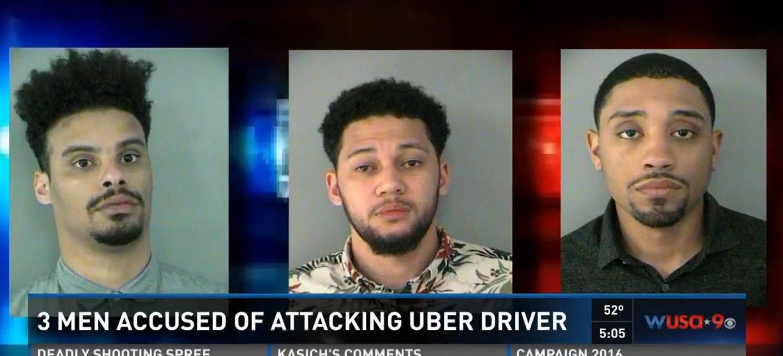 Three men attacked an Uber driver with alcohol bottle in Arlington, Va.(Screen shot WUSA/Photos: Arlington County Police Department)