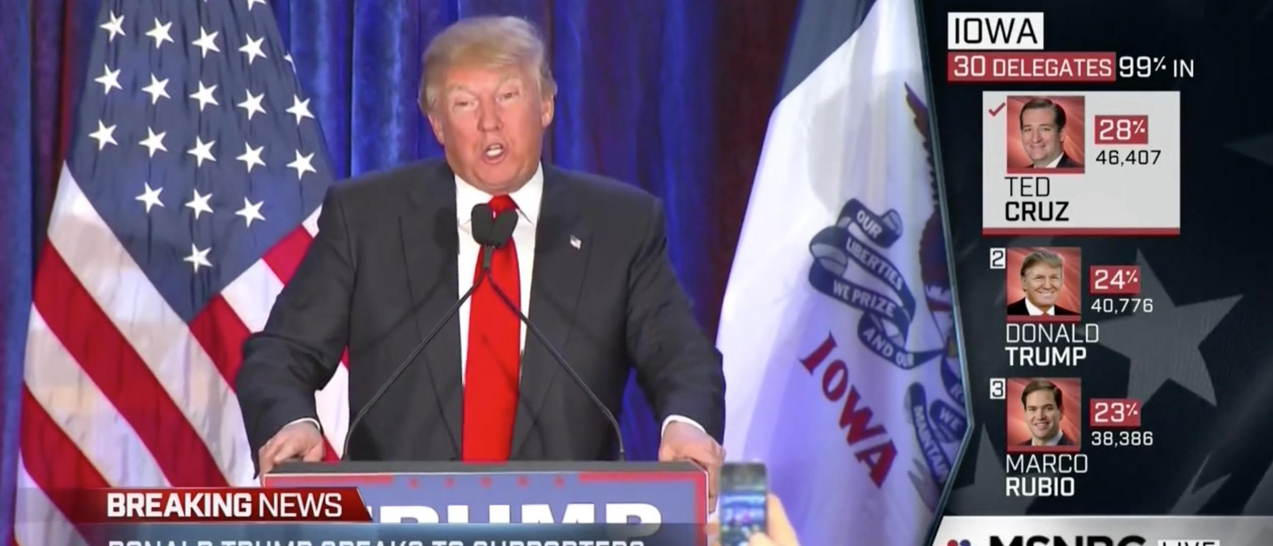 Watch Donald Trump's Post Iowa Caucus Speech [screen shot MSNBC]