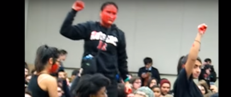 Feminists at Rutgers University protesting Milo Yiannopoulos. Screengrab: YouTube