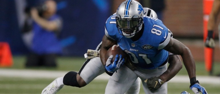 Calvin Johnson #81 of the Detroit Lions breaks the franchise record of 46 career 100-yard games while playing the Oakland Raiders at Ford Field on Nov. 22, 2015