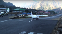 "Voted the most dangerous airport on the History Channel's ""Most Extreme Airports,"" the Lukla Airport sits at an elevation of 9,383 feet and has an incredibly short runway. (Photo: Curiosity/YouTube)"