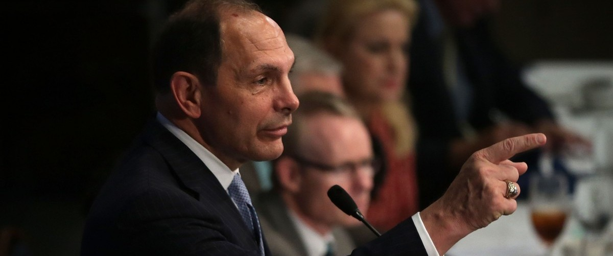 """U.S. Secretary of Veterans Affairs Robert McDonald addresses a Newsmaker Luncheon at the National Press Club November 6, 2015 in Washington, DC. Sec. McDonald spoke on """"the state of the Veterans Affairs Department and the continuing efforts to improve services to millions of American's veterans and their families."""" (Photo by Alex Wong/Getty Images)"""
