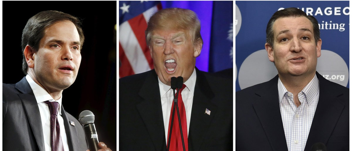 A combination photo shows U.S. Republican presidential candidates Marco Rubio (L) in North Las Vegas, Nevada on February 21, 2016, Donald Trump in Spartanburg, South Carolina on February 20, 2016 and Ted Cruz (R) in Las Vegas, Nevada on February 22, 2016. In South Carolina last weekend, exit polls showed Trump comfortably beat both his closest rivals Ted Cruz and Marco Rubio among evangelical voters, despite their more consistent appeals to Christian values.   REUTERS