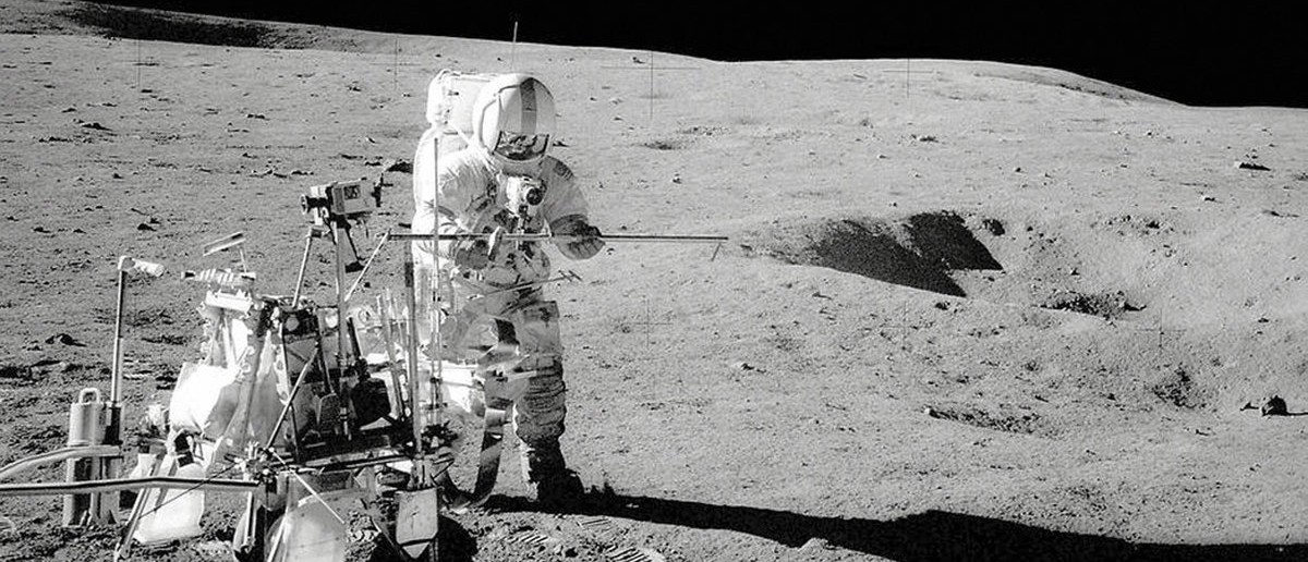 The Apollo 14 crew module landed on the moon forty-four years ago as seen in this NASA image taken February 5, 1971. In this photo, Captain Alan Shepard, Jr. (USN) stands by the Modular Equipment Transporter (MET). The MET was a cart for carrying around tools, cameras and sample cases on the lunar surface, according to a NASA news release. REUTERS/NASA/Handout via Reuters (OUTER SPACE - Tags: SCIENCE TECHNOLOGY ANNIVERSARY)