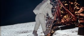 Astronaut Edwin E. Aldrin Jr., lunar module pilot, descends the steps of the Lunar Module (LM) ladder as he prepares to walk on the moon during the Apollo 11 mission in this July 20, 1969 NASA handout photo. The photograph is one of more than 12,000 from NASA's archives recently aggregated on the Project Apollo Archive Flickr account. REUTERS/NASA/Handout via Reuters
