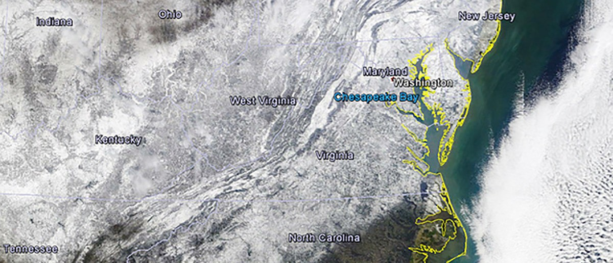 Snow cover on the U.S. East Coast is seen in an image from NASA's Terra/MODIS satellite following a massive winter storm taken January 24, 2016. New York lifted a travel ban and mass transit started getting back to normal on Sunday after a record-setting blizzard in the U.S. Northeast, but Washington remained at a standstill following storms that killed at least 19 people across the country. REUTERS/NASA/TERRA/MODIS/