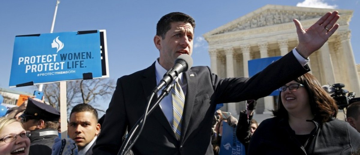 Speaker of the House Paul Ryan speaks to pro-life demonstrators outside the U.S. Supreme Court on the morning the court takes up a major abortion case focusing on whether a Texas law that imposes strict regulations on abortion doctors and clinic buildings interferes with the constitutional right of a woman to end her pregnancy in Washington March 2, 2016. REUTERS/Kevin Lamarque