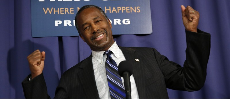 Republican presidential candidate Carson speaks at the National Press Club in Washington