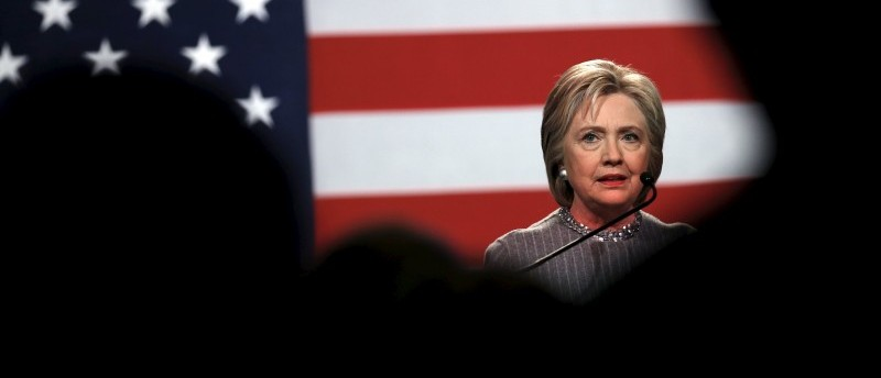 Democratic presidential candidate Hillary Clinton speaks at the Michigan Democratic Party meeting in Detroit, Michigan