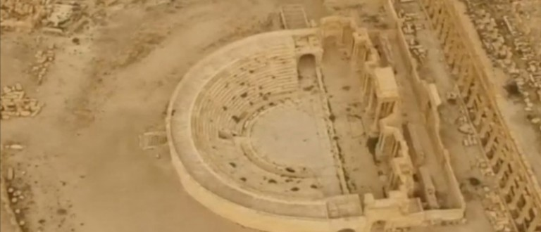 An aerial view of the historic city of Palmyra, in Homs Governorate, Syria, is seen in this still image taken from a drone video courtesy of Rossiya 24, made available to Reuters on March 28, 2016. REUTERS/Rossiya 24/Handout via Reuters TV