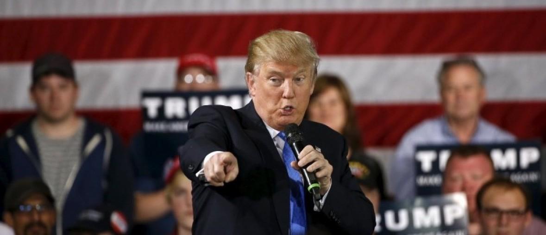 Republican U.S. presidential candidate Donald Trump speaks in Janesville