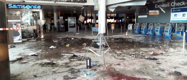 Damage is seen inside the departure terminal following the March 22, 2016 bombing at Zaventem Airport, in these undated photos made available to Reuters by the Belgian newspaper Het Nieuwsblad, in Brussels, Belgium, March 29, 2016. Het Nieuwsblad via REUTERS
