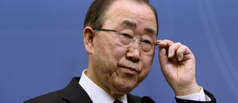 United Nations Secretary General Ban Ki-moon holds a joint news conference with Swedish Prime Minister Stefan Lofven at the Swedish Government headquarters Rosenbad in Stockholm
